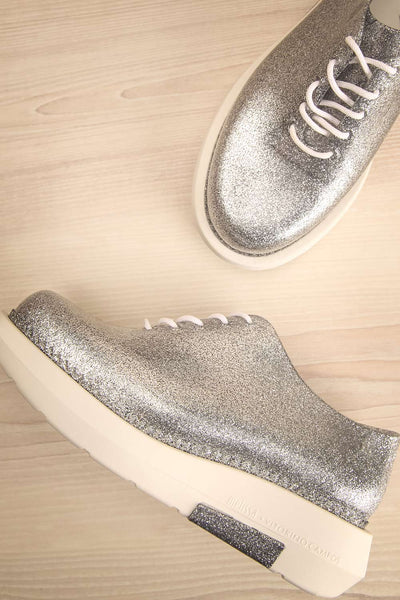 Gallarate | Silver & White Platform Shoes