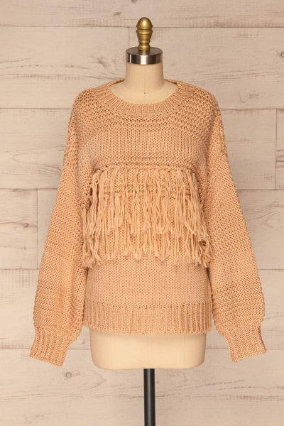 Gamine Pink Fringe Knitted Sweater | La petite garçonne front view