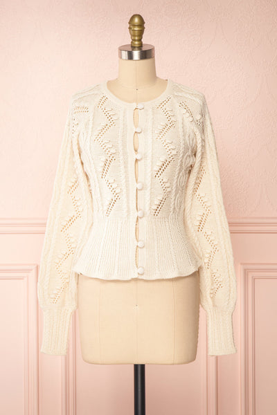 Garance White Openwork Knit Cardigan | Boutique 1861 front view