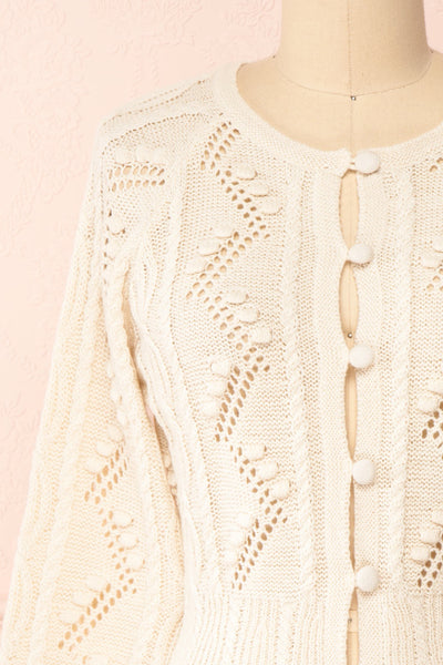Garance White Openwork Knit Cardigan | Boutique 1861 front close-up