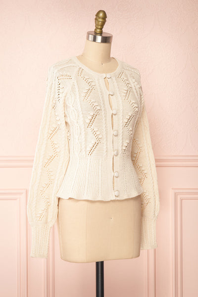 Garance White Openwork Knit Cardigan | Boutique 1861 side view