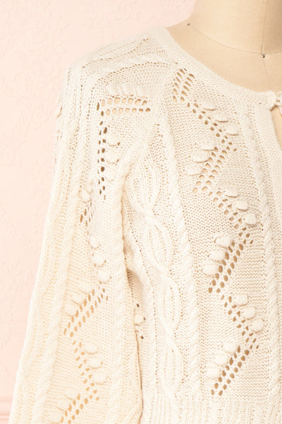 Garance White Openwork Knit Cardigan | Boutique 1861 side close-up