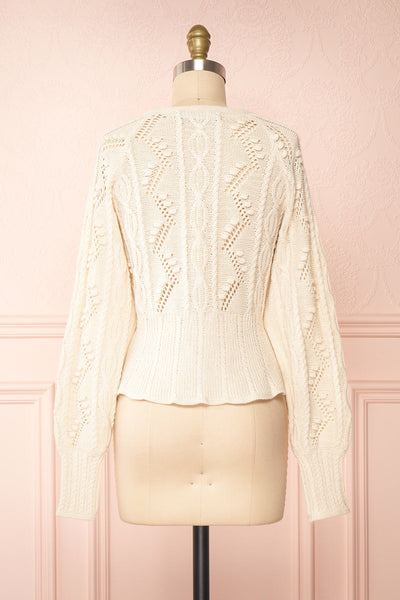 Garance White Openwork Knit Cardigan | Boutique 1861 back view