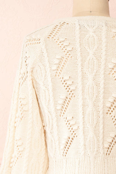 Garance White Openwork Knit Cardigan | Boutique 1861 back close-up