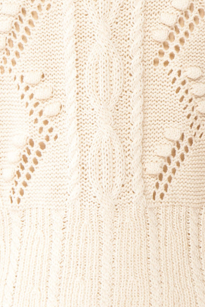 Garance White Openwork Knit Cardigan | Boutique 1861 fabric