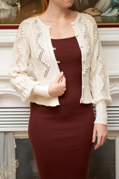 Garance White Openwork Knit Cardigan | Boutique 1861 model