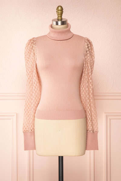 Garbi Pink Long Sleeve Turtleneck Top | Boutique 1861 front view