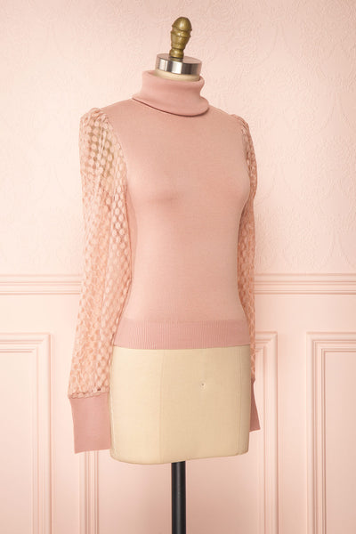 Garbi Pink Long Sleeve Turtleneck Top | Boutique 1861 side view