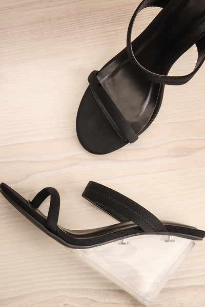 Gargantua Black Sandals with Clear Wedge Heels | La Petite Garçonne