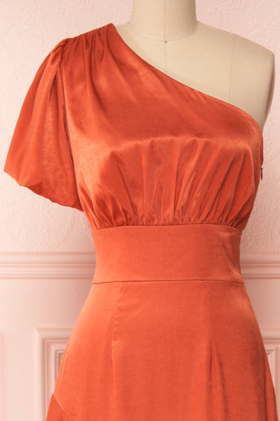 Garuda Burnt Orange One Shoulder Midi Dress | Boutique 1861 front close-up