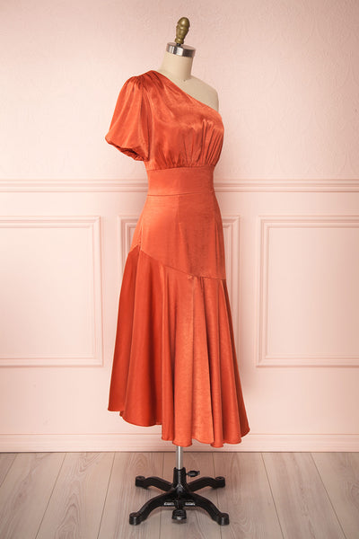Garuda Burnt Orange One Shoulder Midi Dress | Boutique 1861 side view