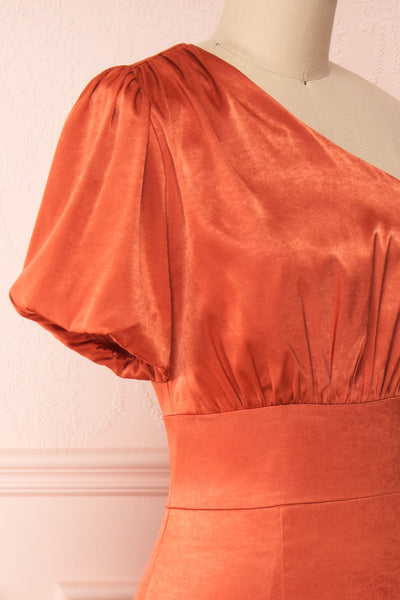 Garuda Burnt Orange One Shoulder Midi Dress | Boutique 1861 side close-up