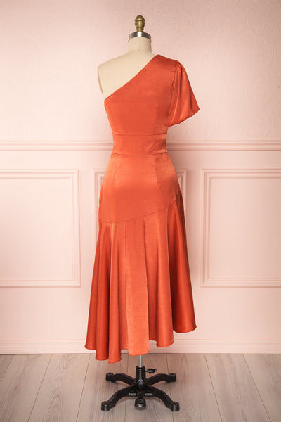 Garuda Burnt Orange One Shoulder Midi Dress | Boutique 1861 back view
