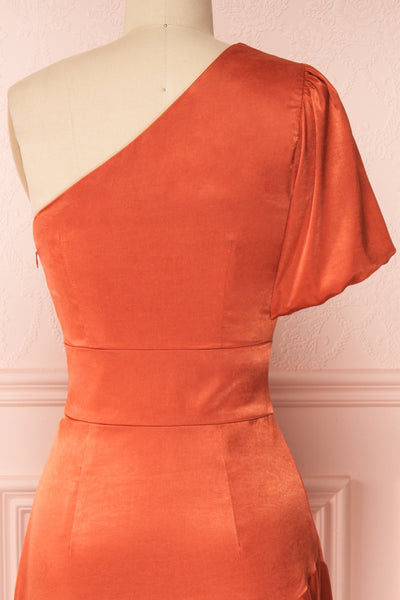 Garuda Burnt Orange One Shoulder Midi Dress | Boutique 1861 back close-up