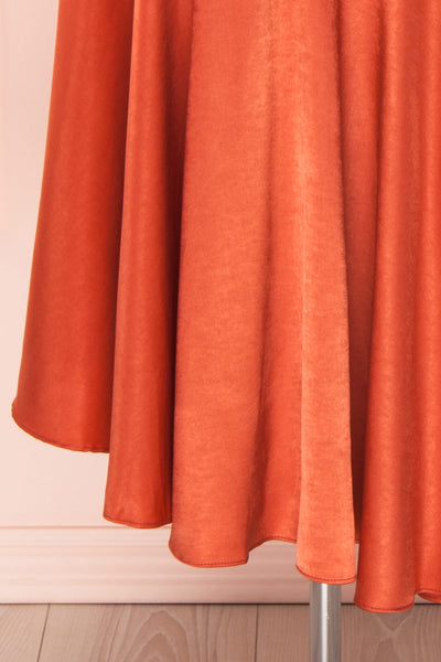 Garuda Burnt Orange One Shoulder Midi Dress | Boutique 1861 bottom close-up