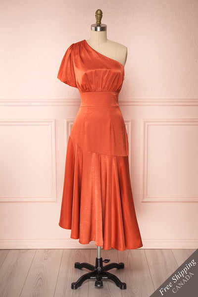 Garuda Burnt Orange One Shoulder Midi Dress | Boutique 1861