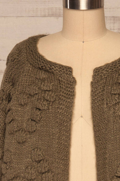 Geleen Green Textured Knit Cardigan | La petite garçonne front close up