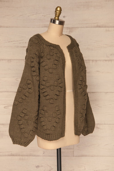 Geleen Green Textured Knit Cardigan | La petite garçonne side view