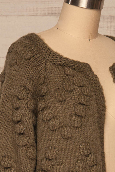 Geleen Green Textured Knit Cardigan | La petite garçonne side close up