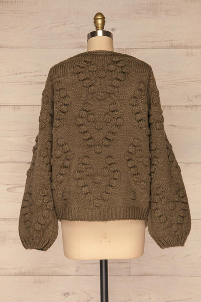 Geleen Green Textured Knit Cardigan | La petite garçonne back view