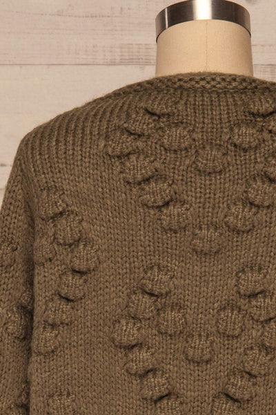 Geleen Green Textured Knit Cardigan | La petite garçonne back close up