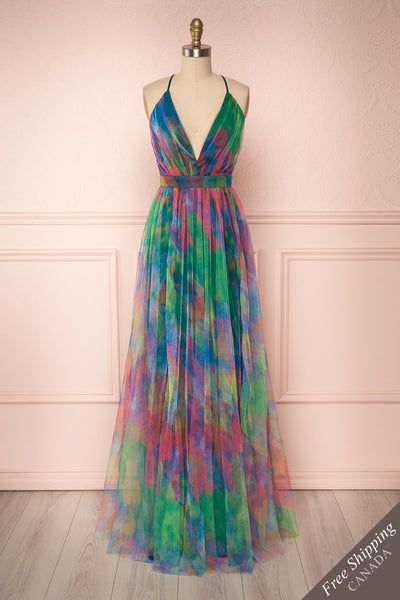 Gennadiya Colourful Mesh A-Line Maxi Dress | Boutique 1861 front view