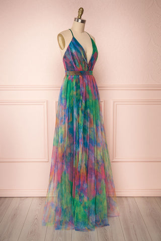 Gennadiya Colourful Mesh A-Line Maxi Dress | Boutique 1861 side view
