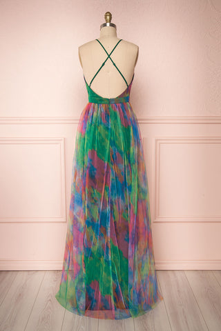 Gennadiya Colourful Mesh A-Line Maxi Dress | Boutique 1861 back view