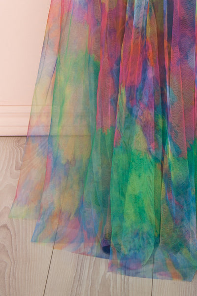 Gennadiya Colourful Mesh A-Line Maxi Dress | Boutique 1861 bottom close-up