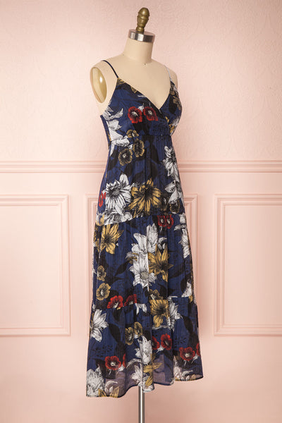 Genoise Navy Floral A-Line Midi Dress | Boutique 1861 side view
