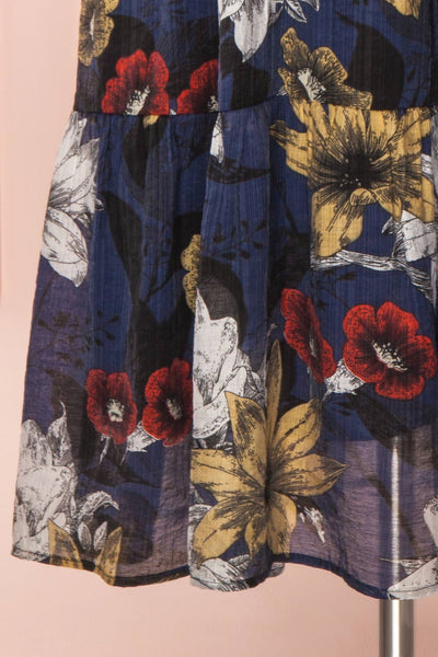 Genoise Navy Floral A-Line Midi Dress | Boutique 1861 bottom close-up