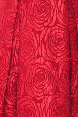 Georgina Red A-Line Cocktail Dress fabric detail | Boutique 1861