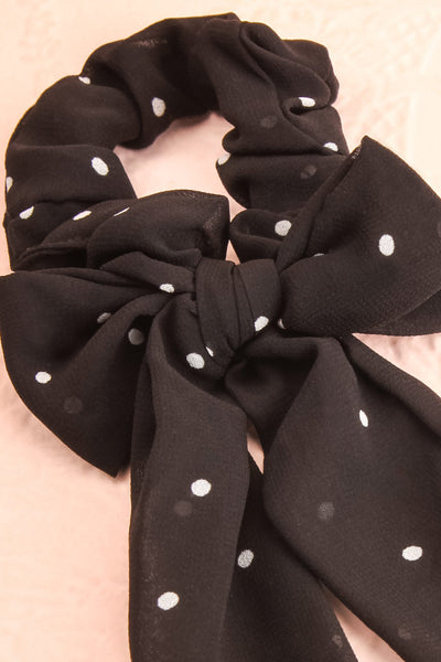 Geriko Noir Black Polka Dot Hair Scrunchie with Bow close-up | Boutique 1861
