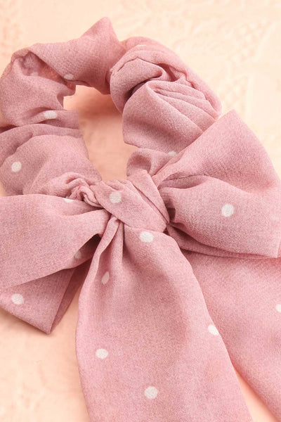 Geriko Rose Pink Polka Dot Hair Scrunchie with Bow close-up | Boutique 1861