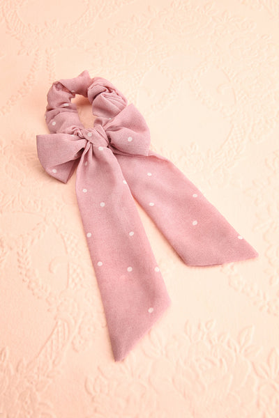 Geriko Rose Pink Polka Dot Hair Scrunchie with Bow | Boutique 1861