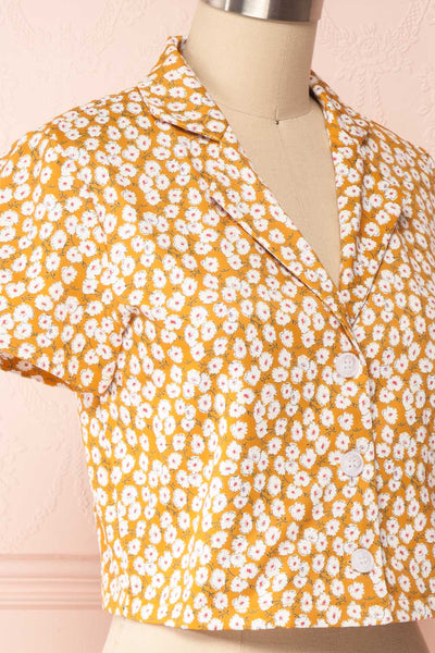 Gersimi Floral Button-up Crop Top side close up | Boutique 1861