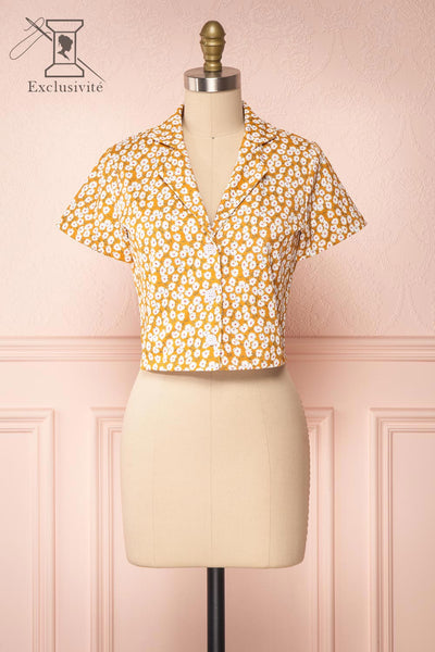Gersimi Floral Button-up Crop Top front view | Boutique 1861