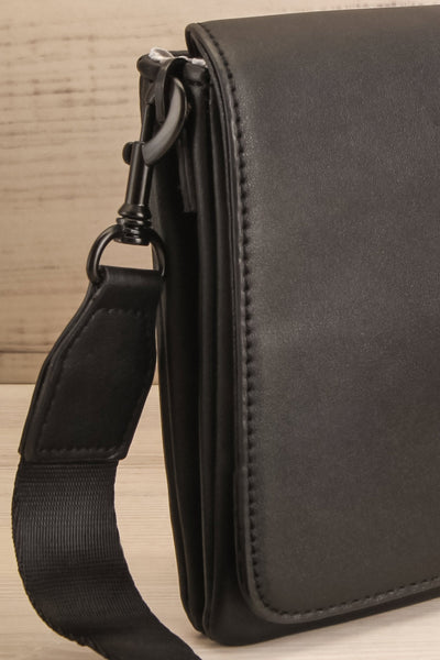 Gianna Black Faux-Leather Pixie Mood Handbag side close-up | La Petite Garçonne