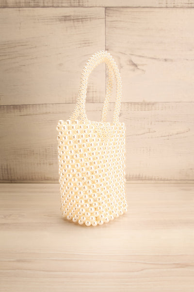 Giannitsa White Beaded Purse w/ Hook Closure side view | La Petite Garçonne