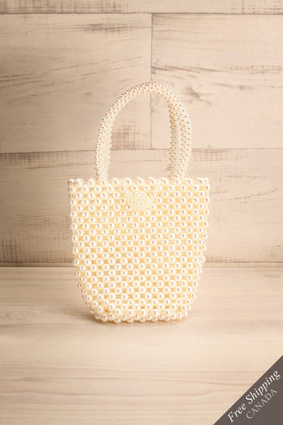 Giannitsa White Beaded Purse w/ Hook Closure | La Petite Garçonne