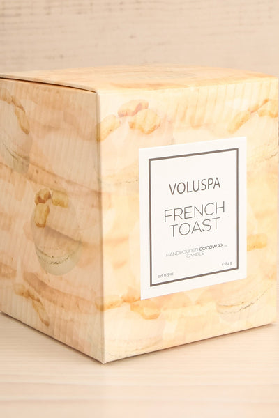 Glass Candle French Toast | Voluspa | Boutique 1861 box close-up