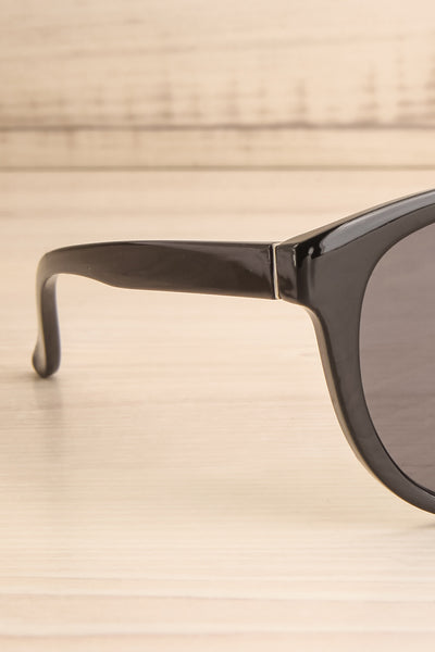 Gluck Black Wayfarer Sunglasses side close-up | La Petite Garçonne