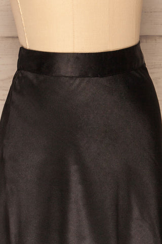 Glyfada Black Silky Midi Skirt side close up | La Petite Garçonne
