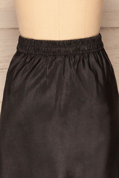 Glyfada Black Silky Midi Skirt back close up | La Petite Garçonne