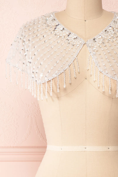 Godavani White Mesh Shawl with Ornements | Boudoir 1861 front close-up