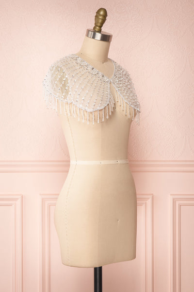 Godavani White Mesh Shawl with Ornements | Boudoir 1861 side view