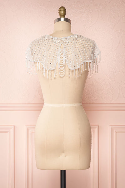 Godavani White Mesh Shawl with Ornements | Boudoir 1861 back view