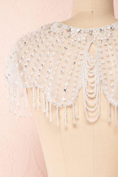 Godavani White Mesh Shawl with Ornements | Boudoir 1861 back close-up