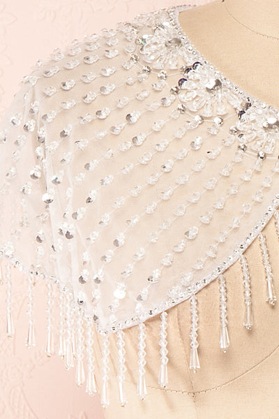 Godavani White Mesh Shawl with Ornements | Boudoir 1861 details