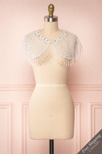 Godavani White Mesh Shawl with Ornements | Boudoir 1861 front view